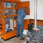 Electrical technician at work